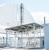 Chernobyl jądrowa stacja, 4 th władzy jednostki z sarkofag na pogodnej pogodzie fotografia stock