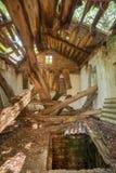 Chernobyl katastrofa Rujnujący Zaniechany Intymny dom na wsi Z Obrazy Stock