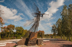 Chernobyl memorial sculpture iron angel Stock Images