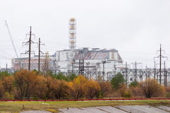 Chernobyl nuclear power plant. Without new safe confinement. Reactor number 4 four. Old destroyed sarcophagus, cover or Royalty Free Stock Photo