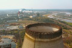 Chernobyl nuclear power plant, Ukrine. Aerial view stock photo