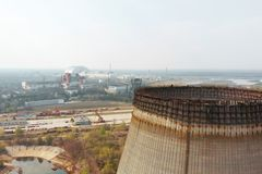 Chernobyl nuclear power plant, Ukrine. Aerial view stock image