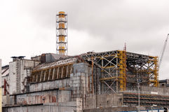 Chernobyl nuclear power plant. View on old destroyed sarcophagus before cover station of new safety confinement. Pripyat royalty free stock photography