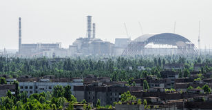 Chernobyl Nuclear Reactor and New Sarcophagus Royalty Free Stock Photography