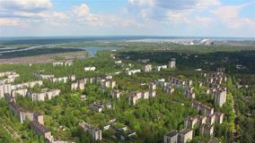 Chernobyl. Pripyat. Aerial view. Copter. stock footage