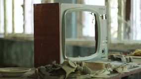 Chernobyl Pripyat Old Tv Frame Detail in Abandoned Building stock video