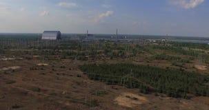 Chernobyl's arch. (Aerial, 4K)