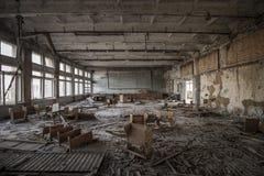 Chernobyl - salle de classe abandonnée dans Pripyat images libres de droits