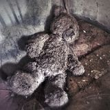 Chernobyl zone. Teddy bear in abandoned house in Chernobyl Exclusion zone royalty free stock image