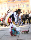 CHERNOVTSY, UKRAINE, October 22, 2010: Peruvian. Street musician singing and dancing on the street of Chernovtsy Royalty Free Stock Images