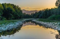 Chernoyevichs flod på solnedgången Montenegro Arkivfoton