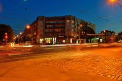 Chernyahovskogostraat in Kaliningrad van de binnenstad Stock Fotografie
