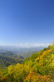Cherohala Skyway in late October. At the peak of the Autumn leaf color season Royalty Free Stock Photo