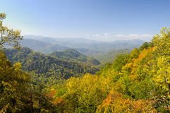 Cherohala Skyway in late October. At the peak of the Autumn leaf color season Royalty Free Stock Images