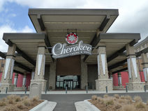 Cherokee Casino & Hotel entrance. Beautiful Cherokee Casino and Hotel in Roland Oklahoma, a destination recreation spot along Highway 40 in Eastern Oklahoma Stock Image