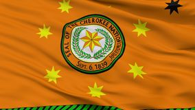 Cherokee Nation Indian Flag Closeup View stock illustration