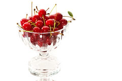 Cherries. Food series: ripe red cherries in the glassy bowl royalty free stock photography