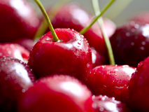Cherries. Sweet red cherries with water drops stock photo