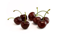 Cherries. Cherriers lying together on white background stock image
