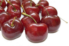 Cherries. Several cherries isolated over a white background royalty free stock image