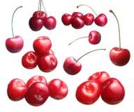 Cherries. Fresh ripened red cherries. Set Stock Photography