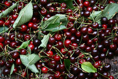 Cherries. A basket full of red cherries Royalty Free Stock Images