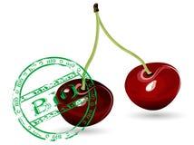 Cherries. Fresh cherries with bio stamp Royalty Free Stock Photography