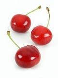 Cherries. Three Red Cherries Stock Images