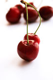 Cherries. Red Cherries in white background Royalty Free Stock Image