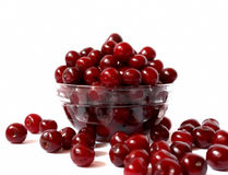 Cherries. Transparent bowl with ripe and delicious cherries, sweet summer fruits Royalty Free Stock Photography