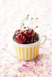 Cherries. Close-up of fresh delicious and ripe cherries in a cup Stock Photography
