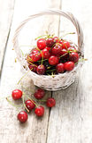 Cherries. On a wooden white table Stock Image