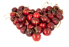 Cherries. In a Heart Shape Stock Photography