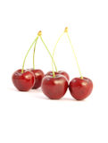 Cherries. Five red cherries on white background Stock Photography