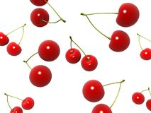 Cherries. 3d rendered illustration of many falling cherries Royalty Free Stock Images