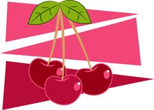 Cherries. Stylised drawing of a bunch of fruity red cherries Royalty Free Stock Images