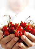 Cherries. Fresh cherries in high key Royalty Free Stock Photos