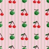 Cherries and apples seamless pattern. Seamless pattern with pixel art stylized cherries and green apples on a simple pink striped background Stock Images