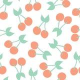 Cherries background. Vector seamless pattern stock illustration