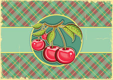 Cherries background.Vector vintage label on old pa Stock Photos