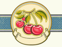 Red cherries background.Vector vintage label on ol Royalty Free Stock Images