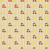 Cherries and bananas seamless pattern Royalty Free Stock Photo
