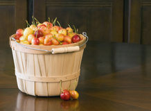 Cherries in Basket. A basket of fresh Rainier cherries sitting on dark wood table royalty free stock photography