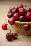 Cherries in basket Stock Photography