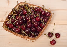 Cherries in basket Royalty Free Stock Photos