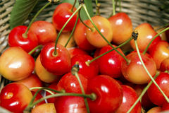 Cherries in a Basket Close Up Stock Image