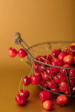 Cherries in a basket on a gold background. Stock Photography