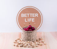 Cherries in in the basket  and pistachio  with inspiration words Stock Image