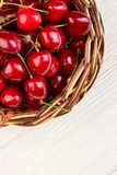 Cherries in basket, top view. Royalty Free Stock Photography
