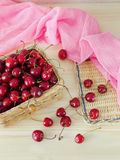 Cherries in a basket Royalty Free Stock Image